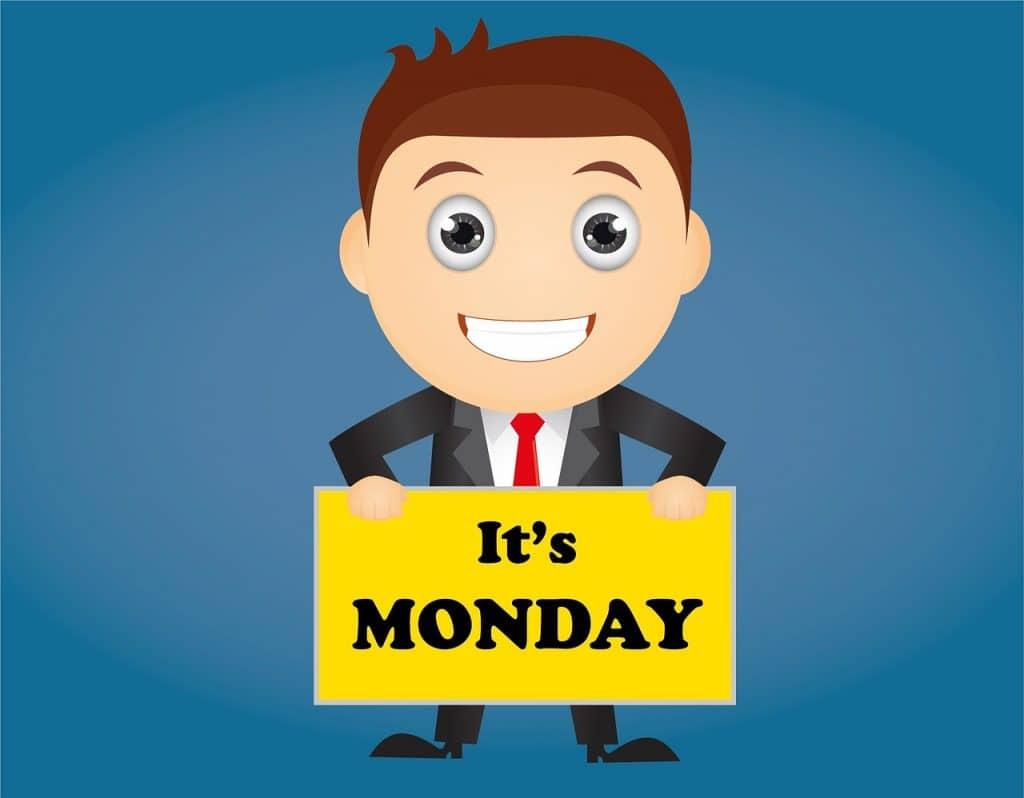 mies on tyytyväinen kun on maanantai